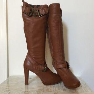 Fornarina  brown calf leather platform boot 39
